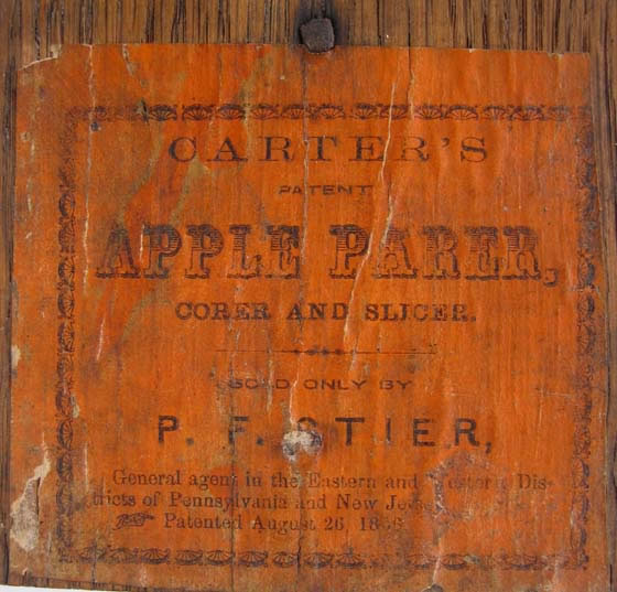 Image of Carter's Apple Parer Paper Label