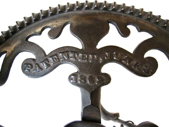 Image of Patent Date on White's Arc Apple Parer